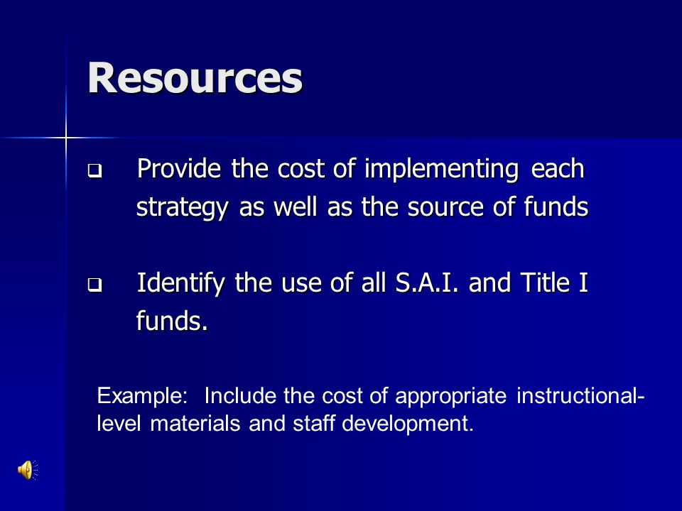 Resources Provide the cost of implementing each