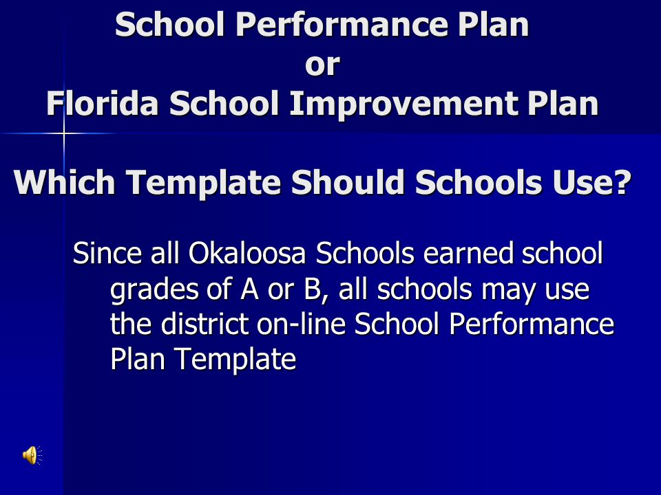 School Performance Plan or Florida School Improvement Plan Which Template Should Schools Use