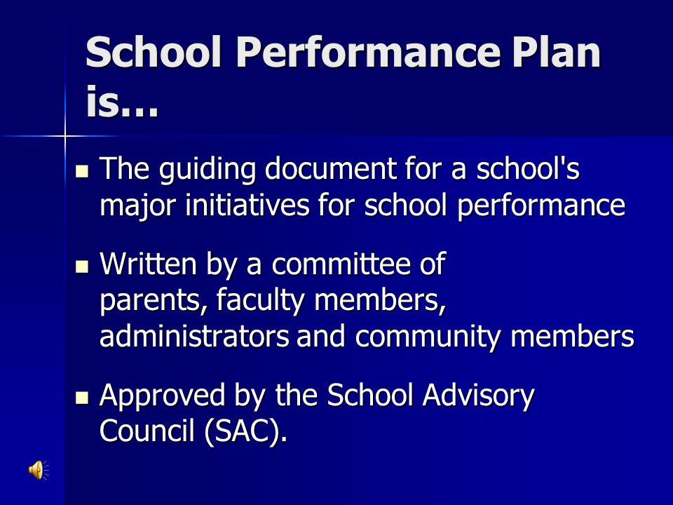 School Performance Plan is…