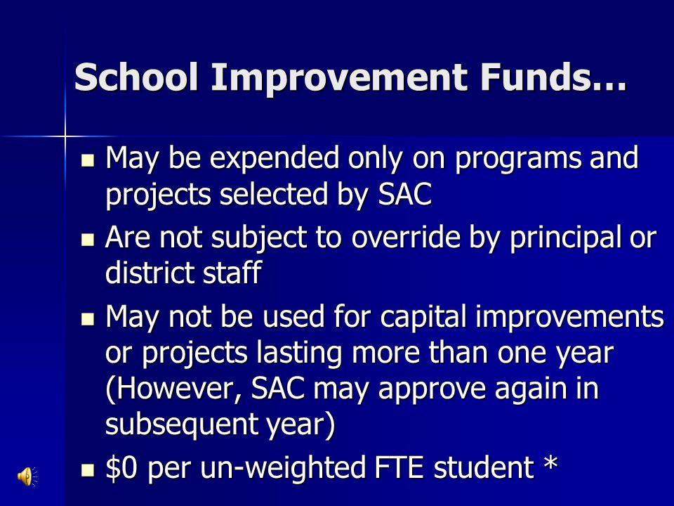 School Improvement Funds…