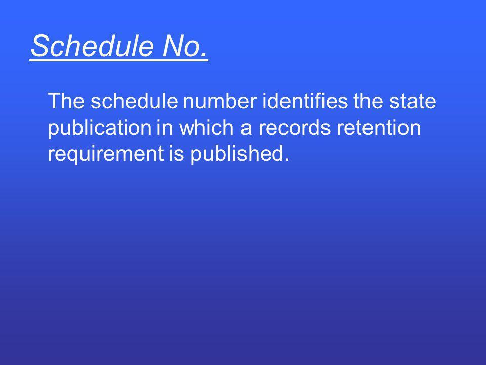 Schedule No.