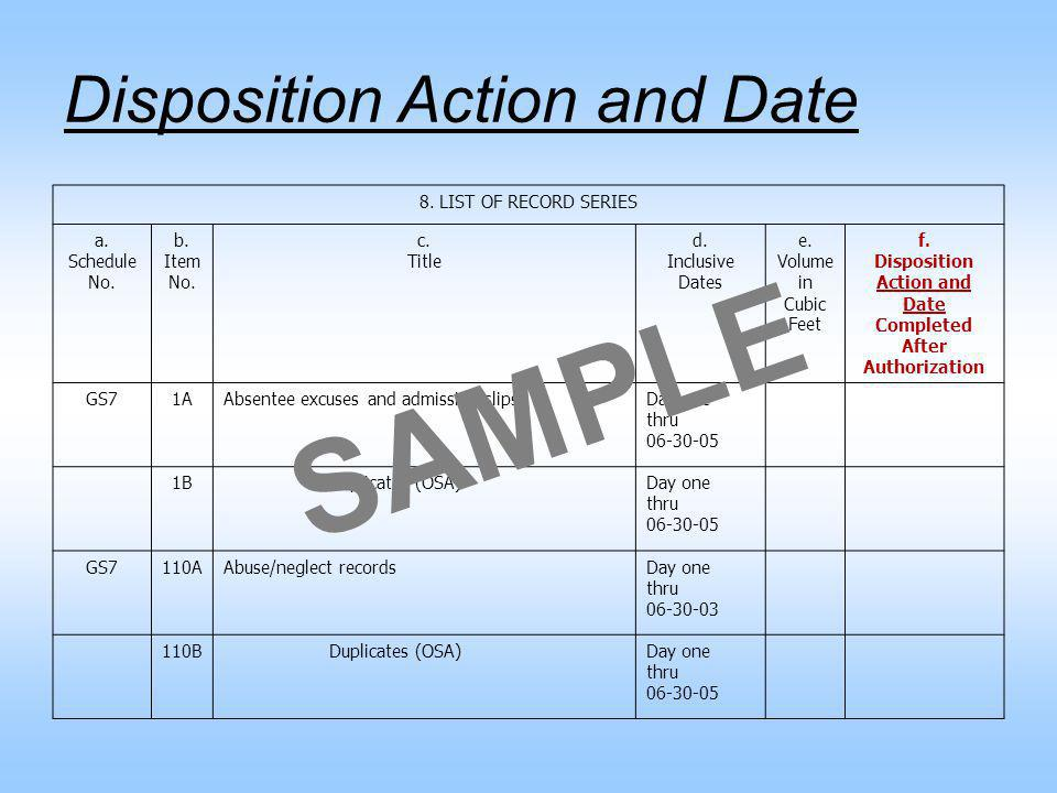 Disposition Action and Date