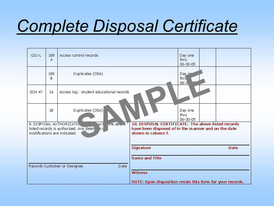 Understanding and using the disposal authorization ppt for Certificate of disposal template