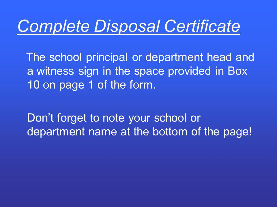 Complete Disposal Certificate