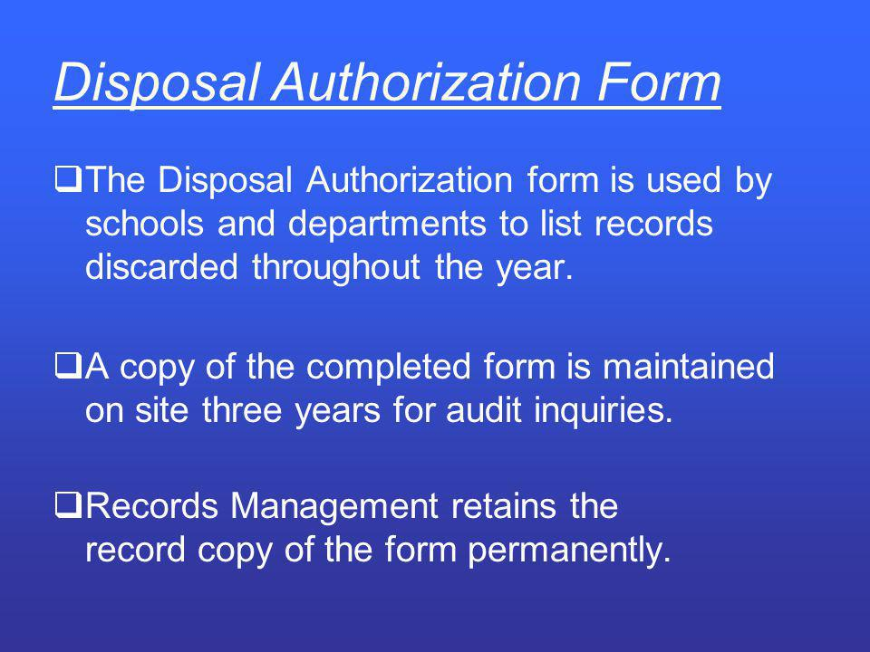 Disposal Authorization Form
