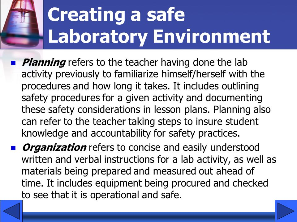 Creating a safe Laboratory Environment