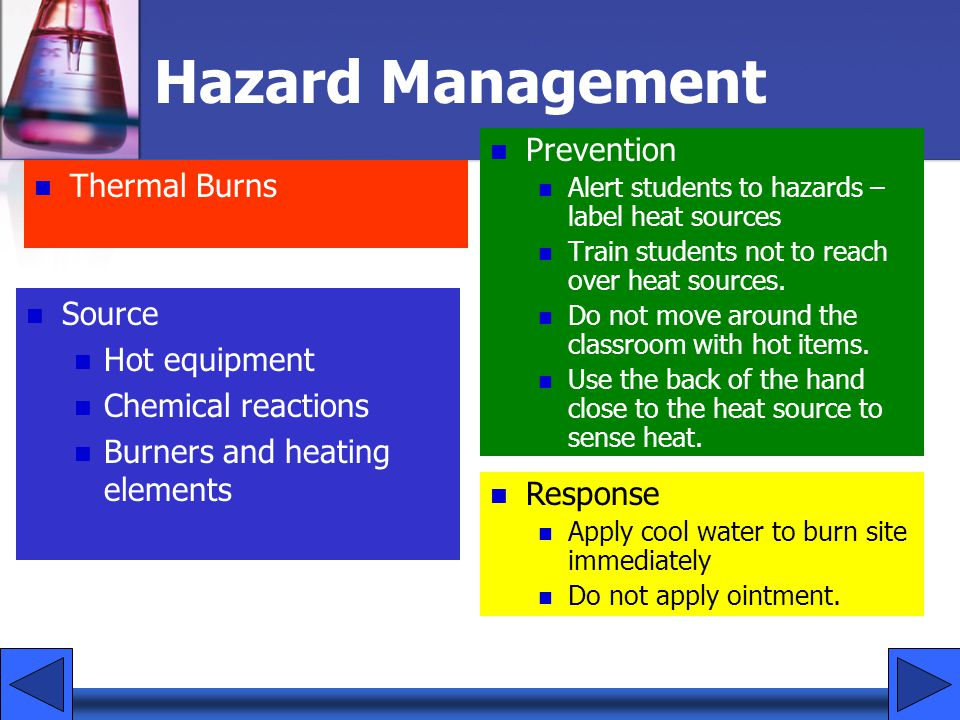 Hazard Management Prevention Thermal Burns Source Hot equipment