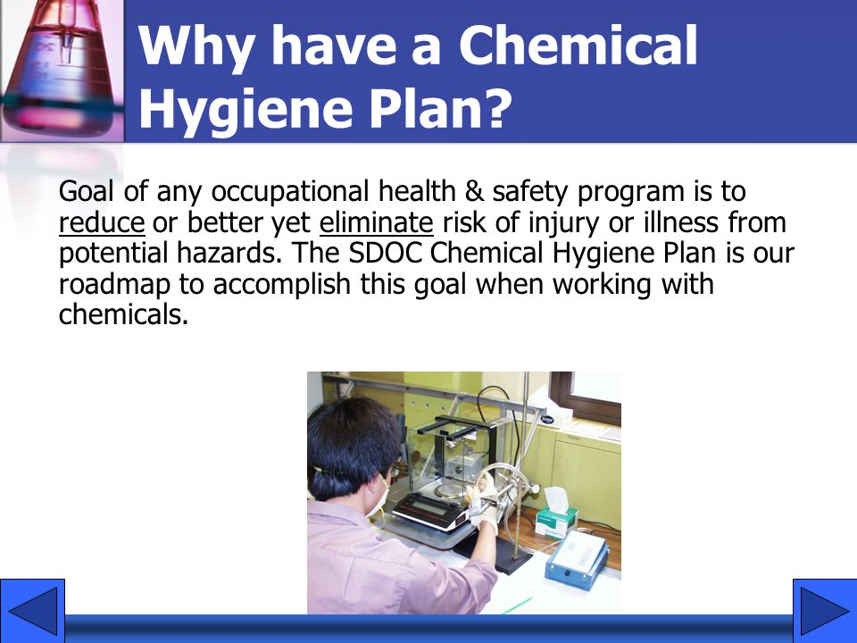 Why have a Chemical Hygiene Plan