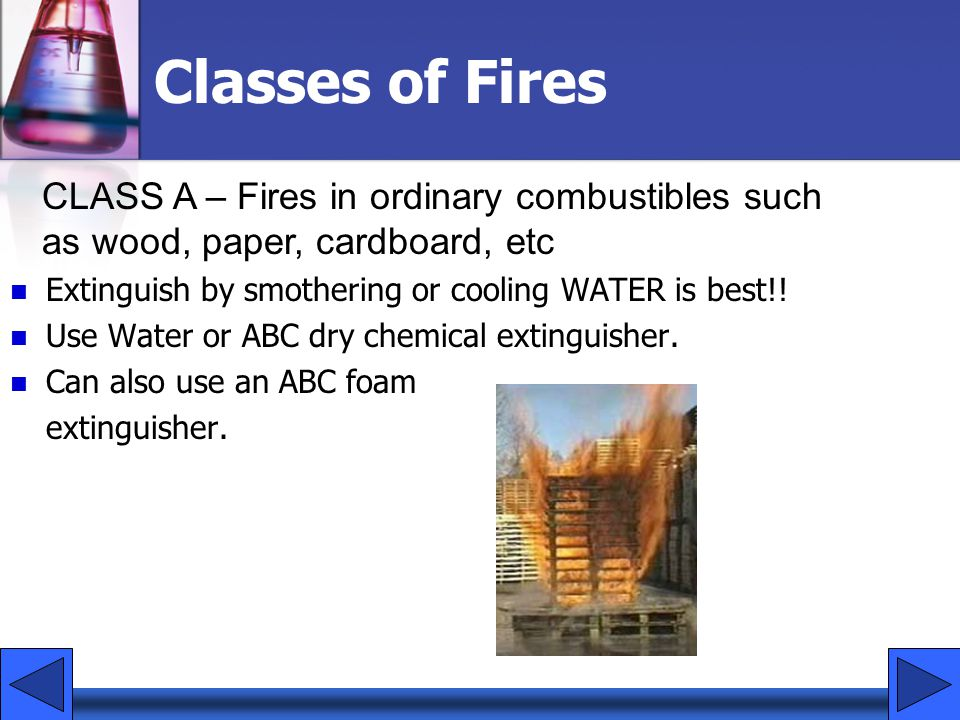 Classes of Fires CLASS A – Fires in ordinary combustibles such as wood, paper, cardboard, etc. Extinguish by smothering or cooling WATER is best!!