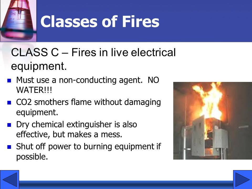 Classes of Fires CLASS C – Fires in live electrical equipment.