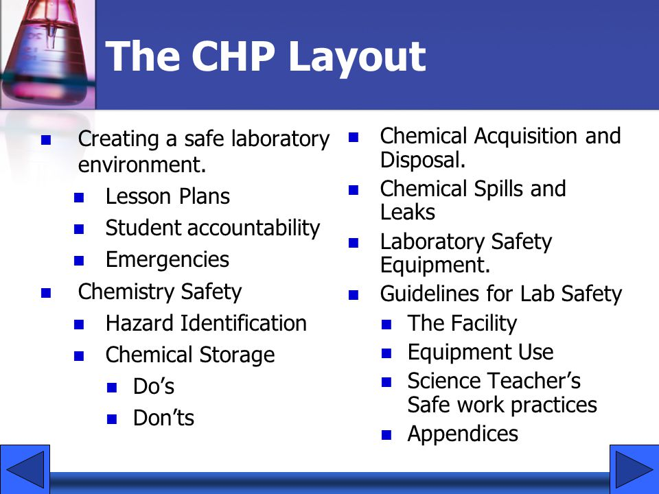 The CHP Layout Creating a safe laboratory environment. Lesson Plans