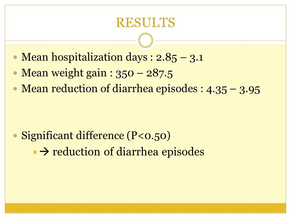 RESULTS  reduction of diarrhea episodes
