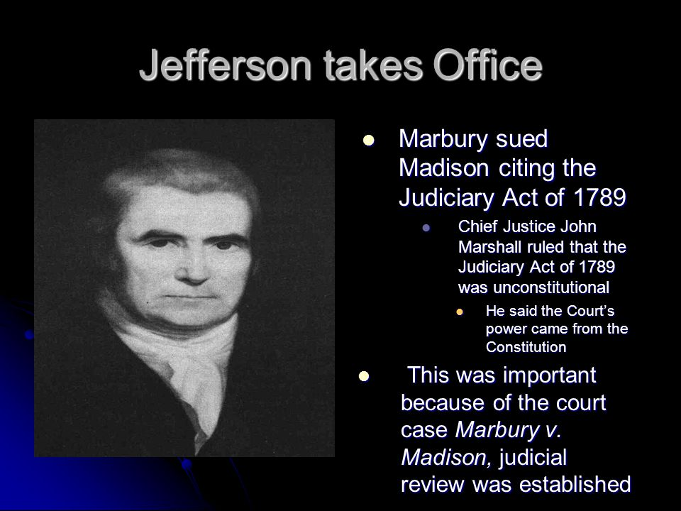 Jefferson takes Office