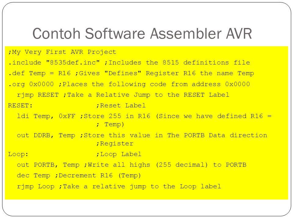 Contoh Software Assembler AVR