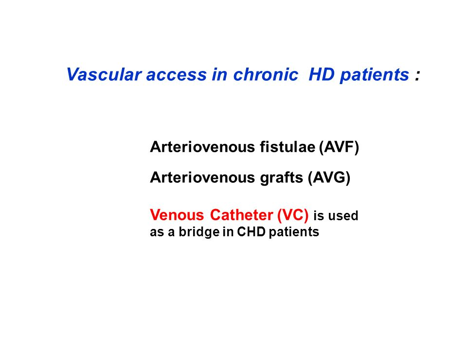 Vascular access in chronic HD patients :
