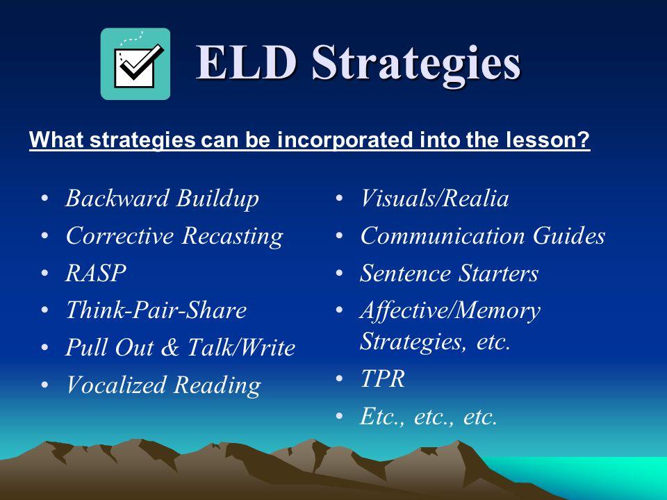 ELD Strategies Backward Buildup Corrective Recasting RASP