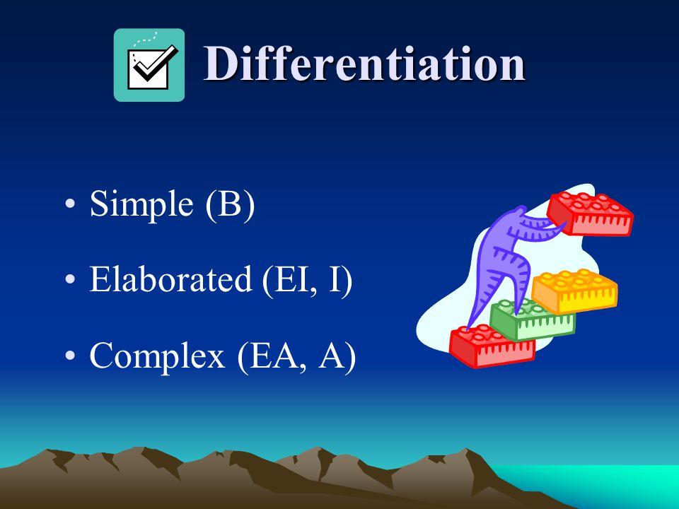 Differentiation Simple (B) Elaborated (EI, I) Complex (EA, A)