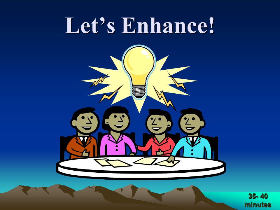 Let's Enhance! 35- 40 minutes