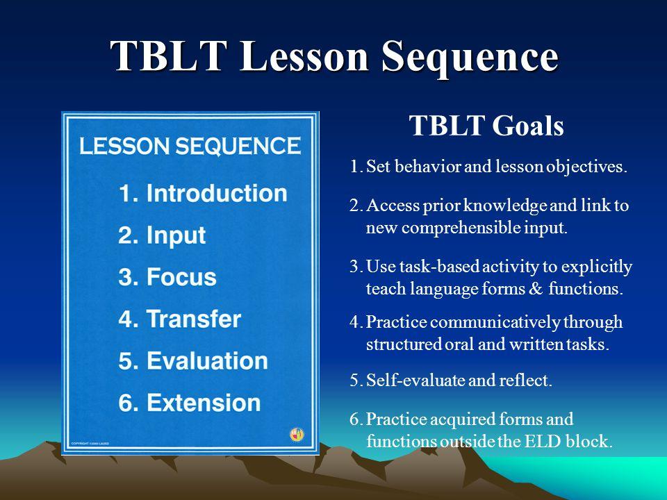 TBLT Lesson Sequence TBLT Goals Set behavior and lesson objectives.