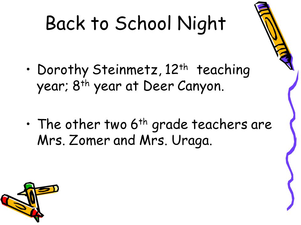 Back to School Night Dorothy Steinmetz, 12th teaching year; 8th year at Deer Canyon.