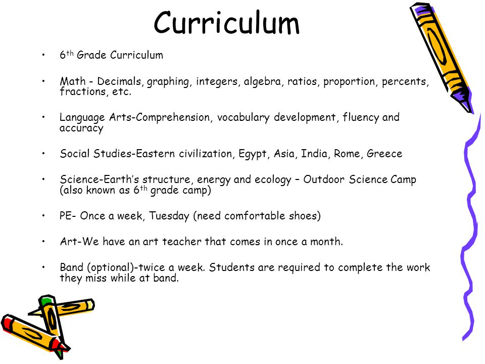 Curriculum 6th Grade Curriculum