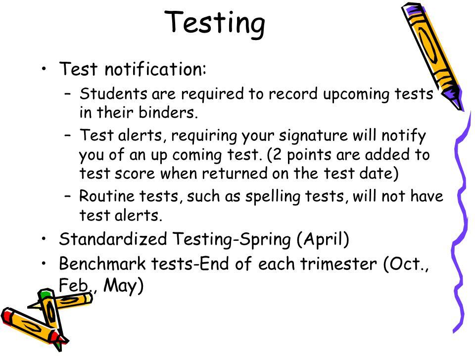 Testing Test notification: Standardized Testing-Spring (April)