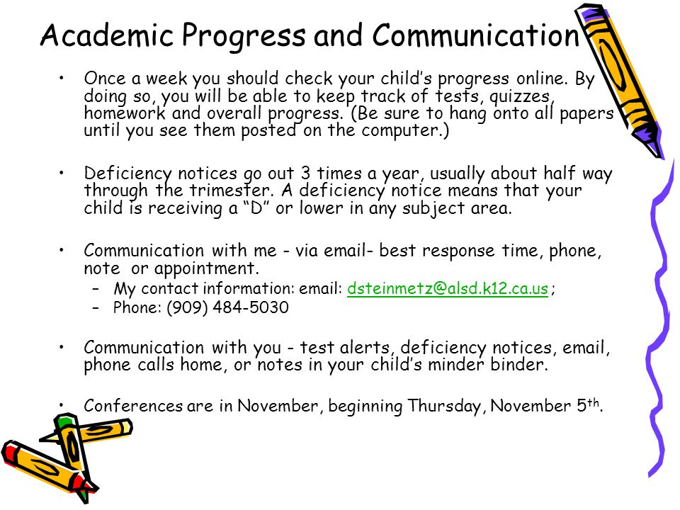Academic Progress and Communication