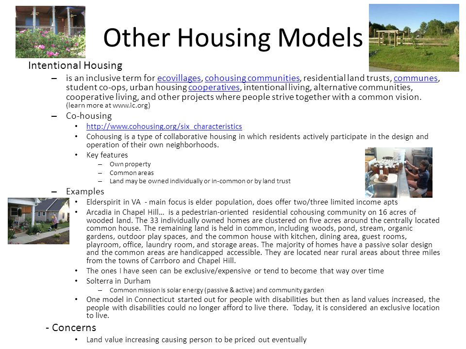 Other Housing Models Intentional Housing - Concerns