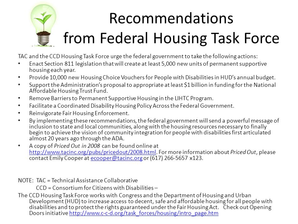 Recommendations from Federal Housing Task Force