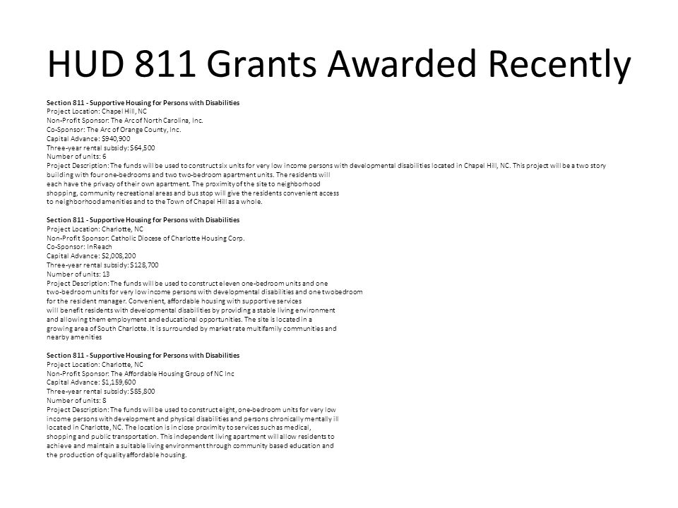 HUD 811 Grants Awarded Recently
