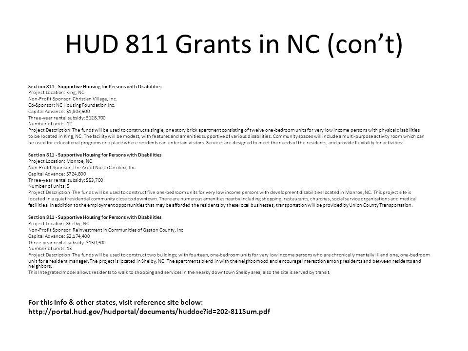 HUD 811 Grants in NC (con't)