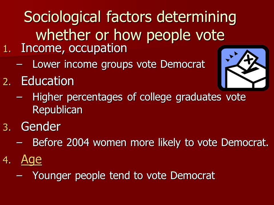 Sociological factors determining whether or how people vote