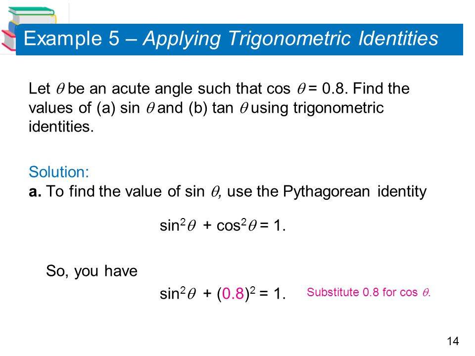Example 5 – Applying Trigonometric Identities