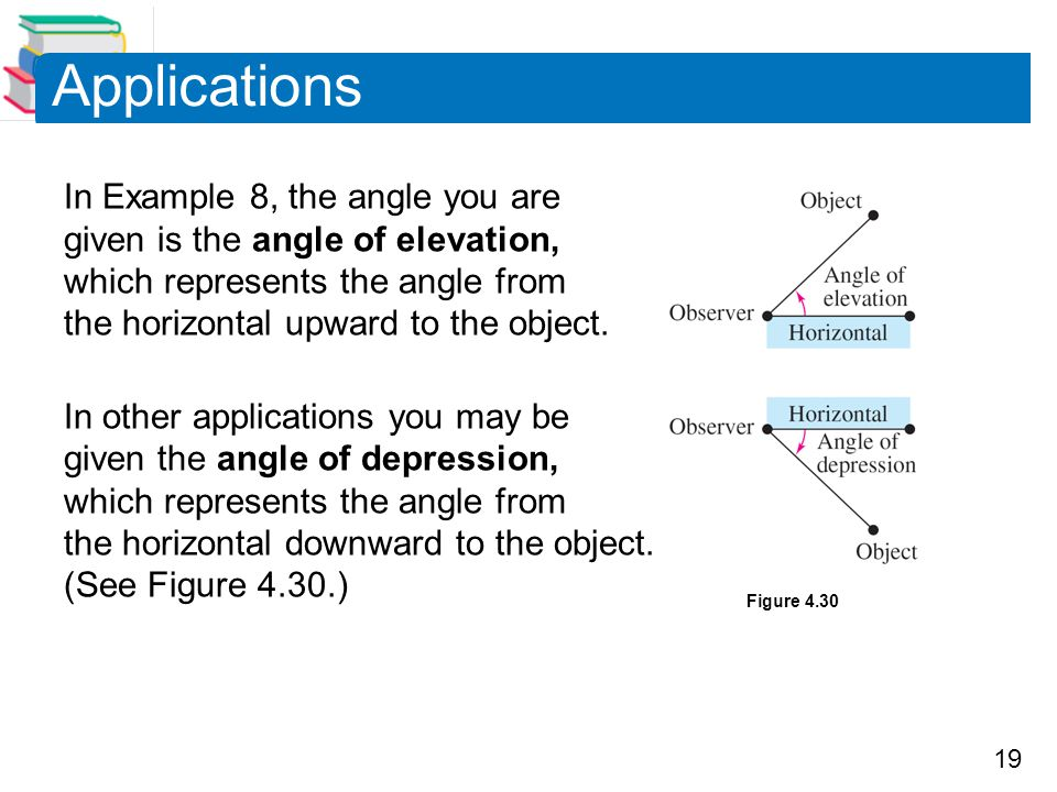 Applications In Example 8, the angle you are given is the angle of elevation, which represents the angle from the horizontal upward to the object.