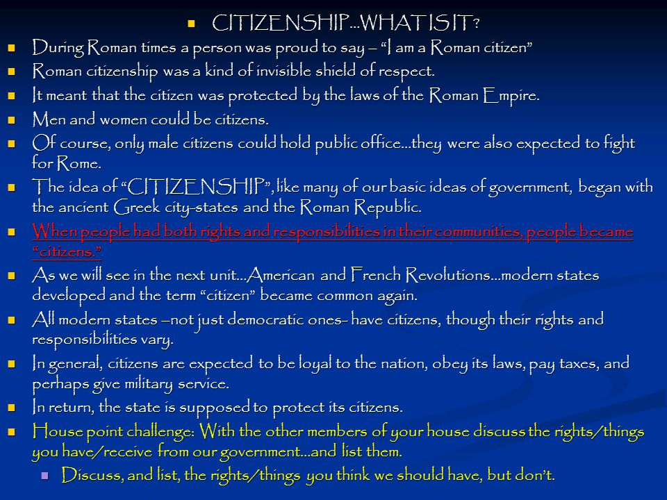 CITIZENSHIP…WHAT IS IT