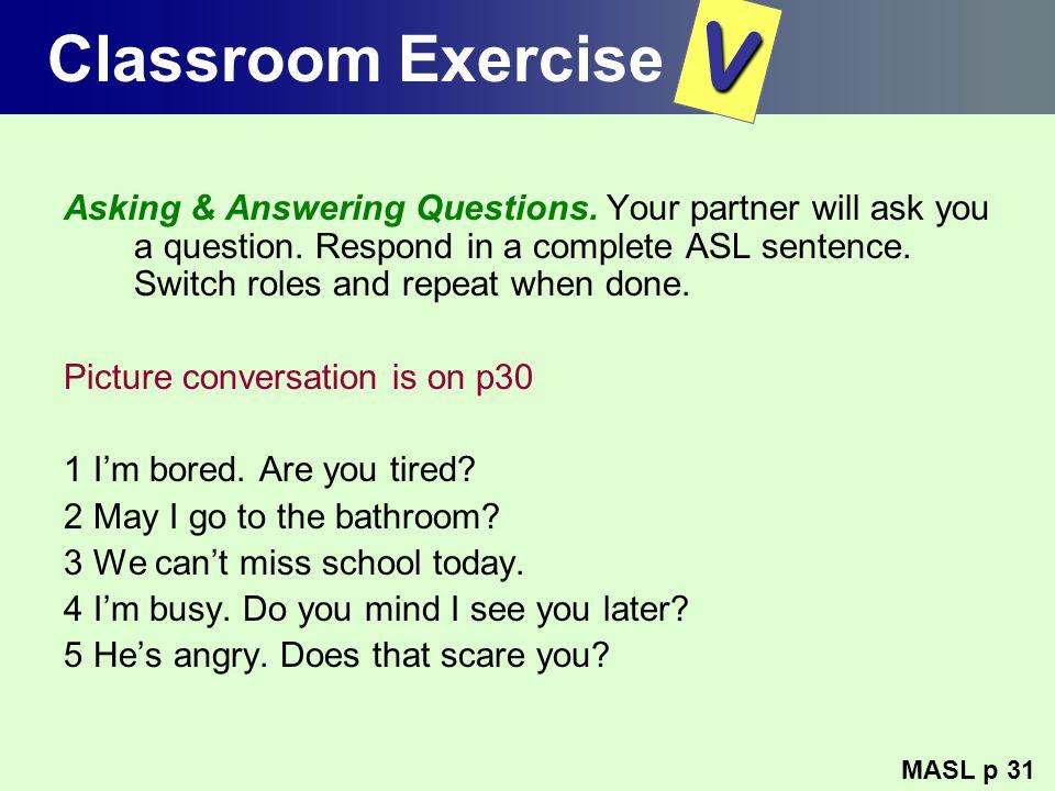 Classroom Exercise V.