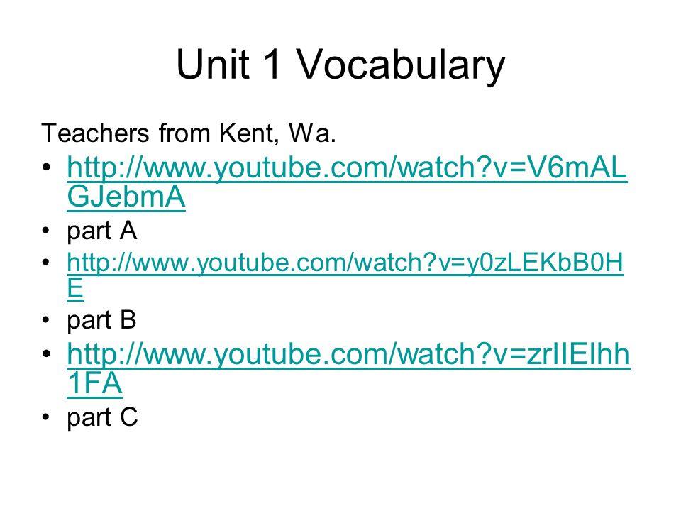 Unit 1 Vocabulary http://www.youtube.com/watch v=V6mALGJebmA
