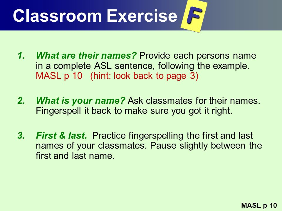 Classroom Exercise F.