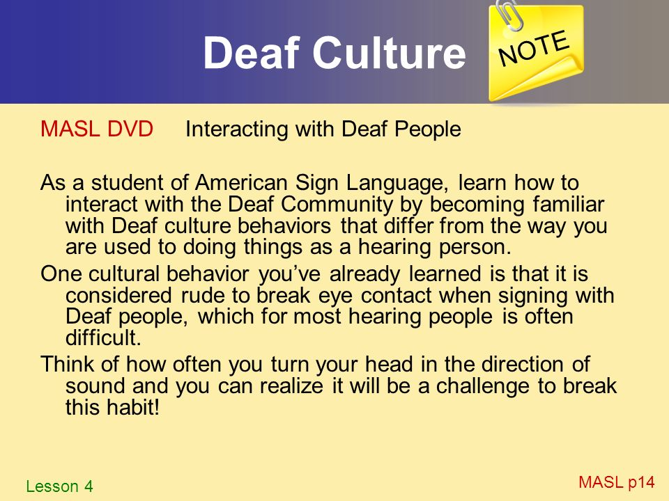 Deaf Culture NOTE MASL DVD Interacting with Deaf People