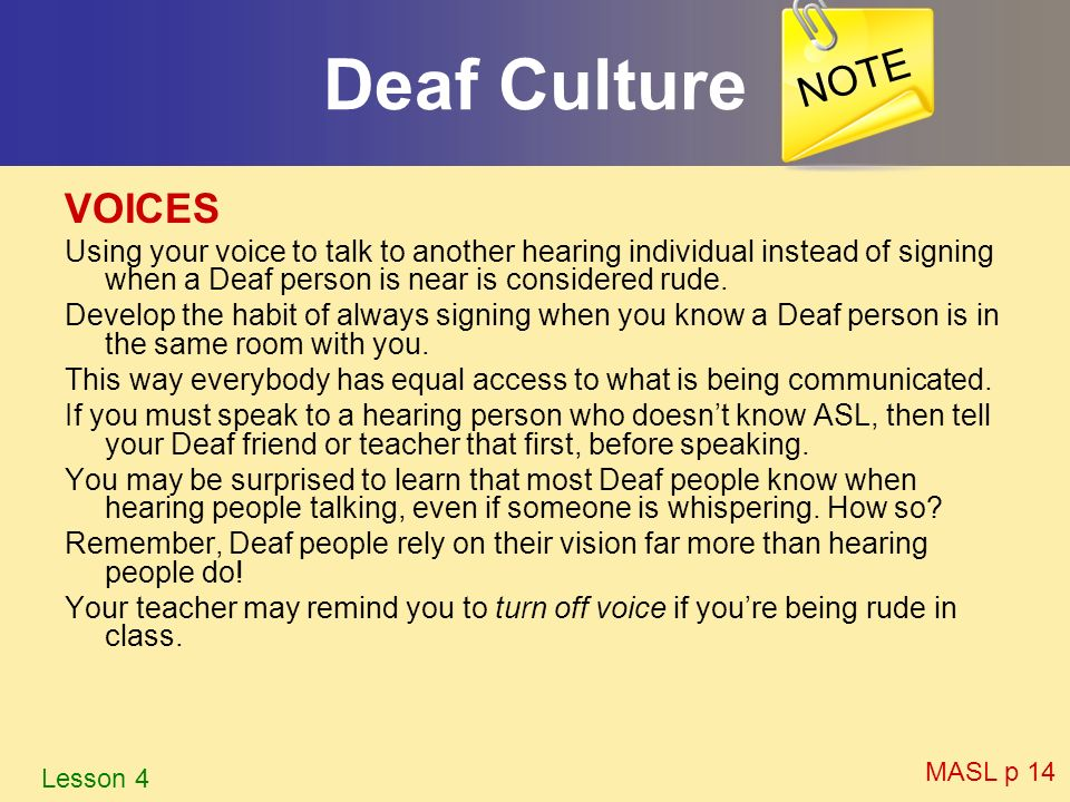 Deaf Culture NOTE VOICES
