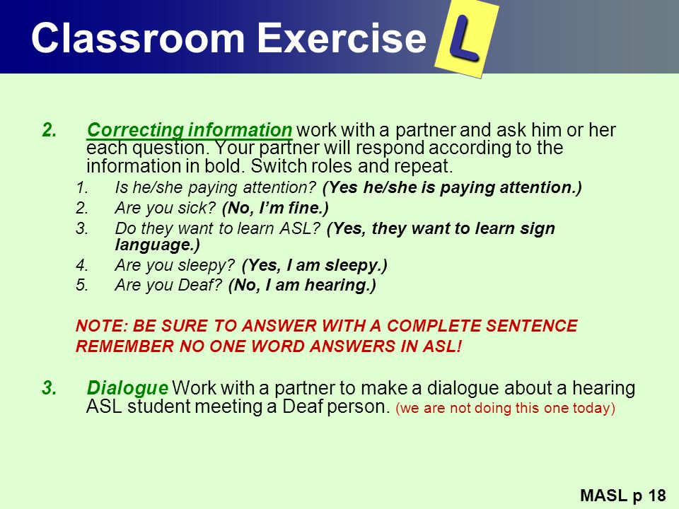 Classroom Exercise L.