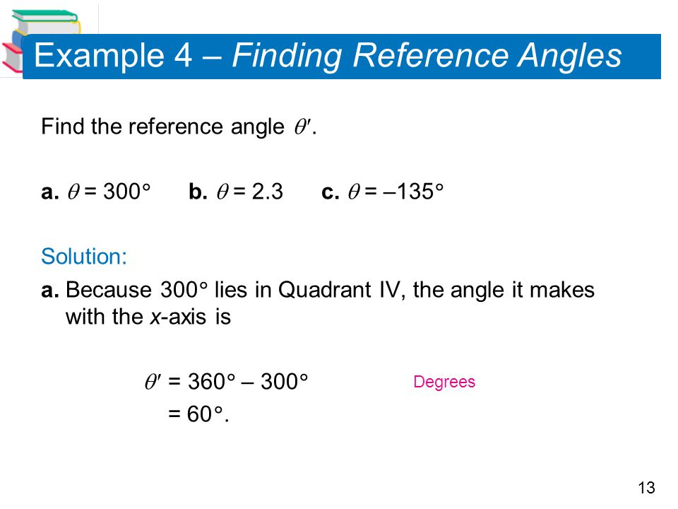 Example 4 – Finding Reference Angles