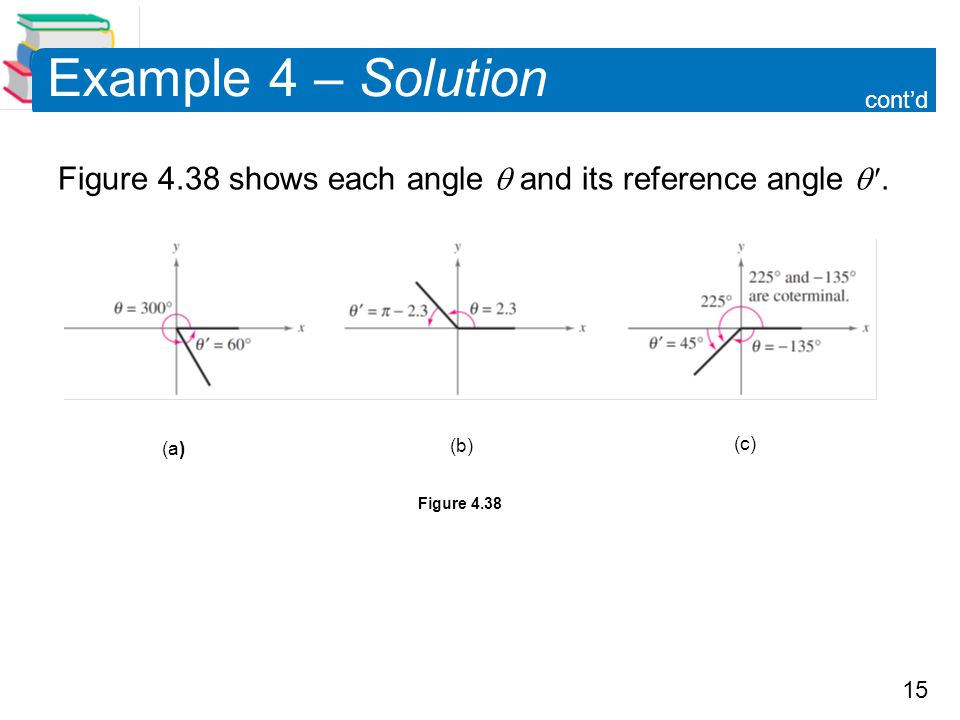 Example 4 – Solution cont'd. Figure 4.38 shows each angle  and its reference angle  . (a) (b)