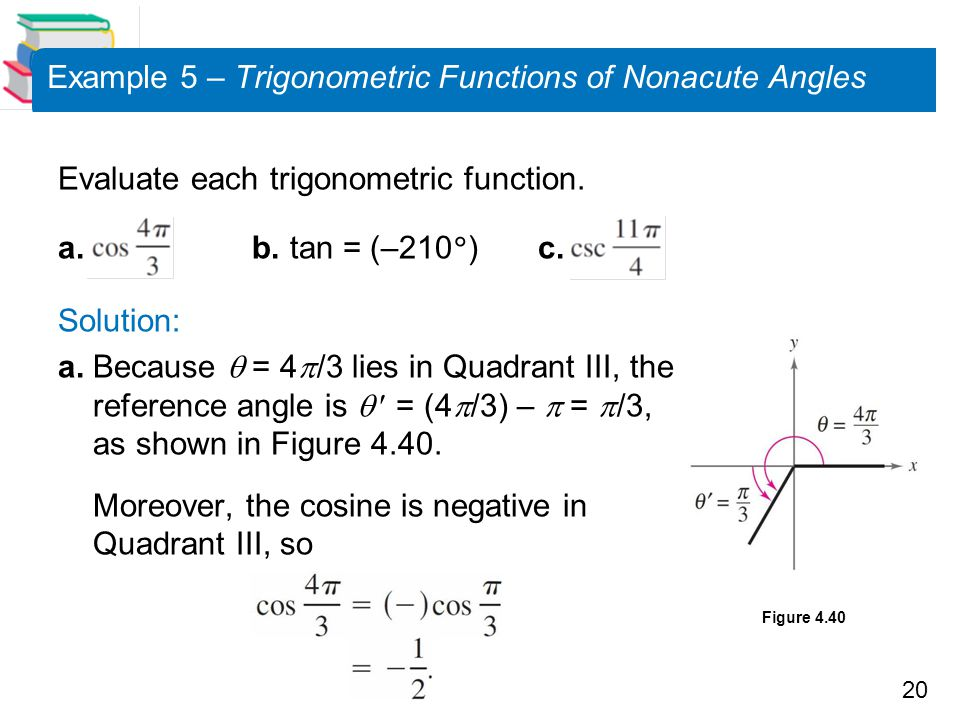 Example 5 – Trigonometric Functions of Nonacute Angles