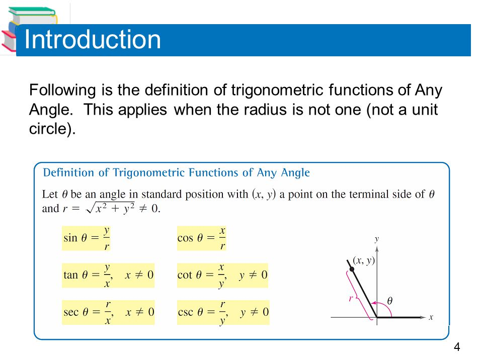 Introduction Following is the definition of trigonometric functions of Any Angle.