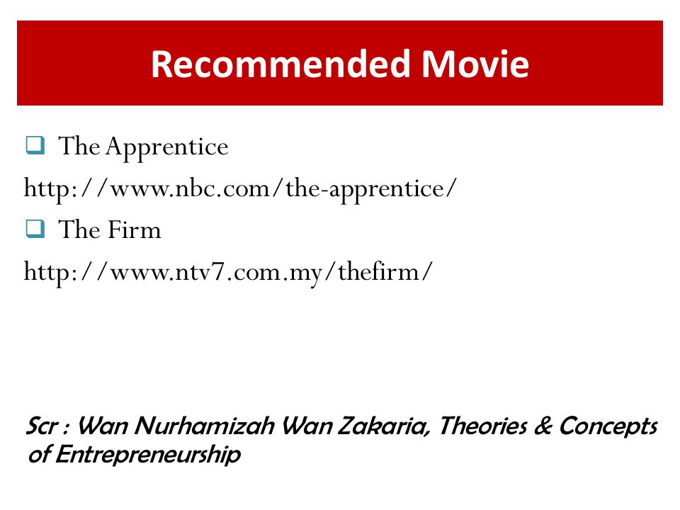 Recommended Movie The Apprentice http://www.nbc.com/the-apprentice/