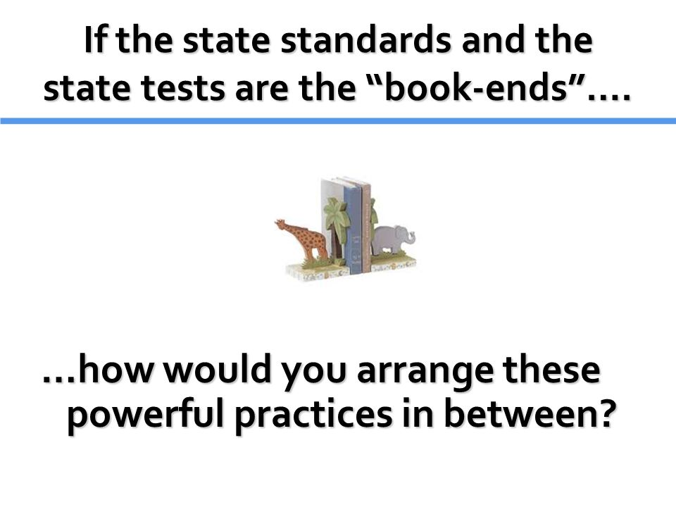 If the state standards and the state tests are the book-ends ….