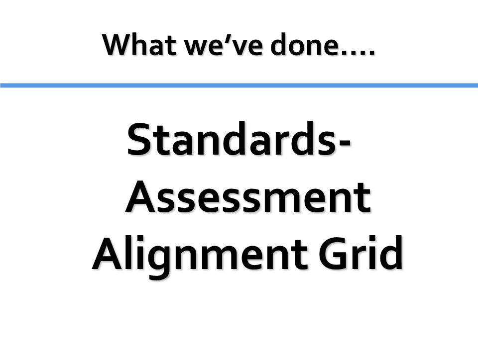 Standards- Assessment Alignment Grid