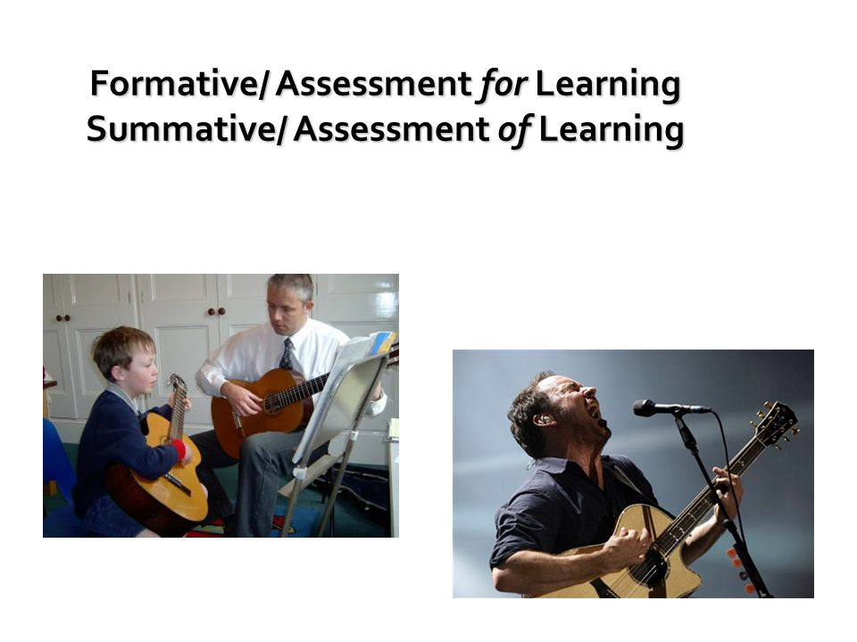 Formative/ Assessment for Learning Summative/ Assessment of Learning