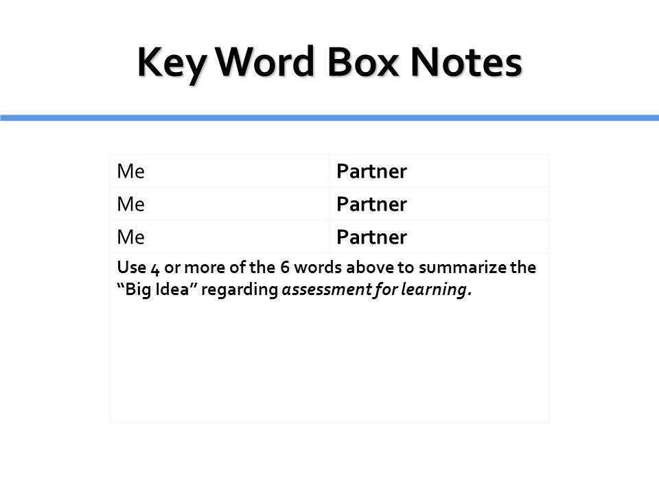 Key Word Box Notes Me Partner